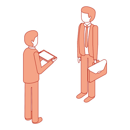 businessmen standing with briefcase and tablet isometric vector illustration pink design