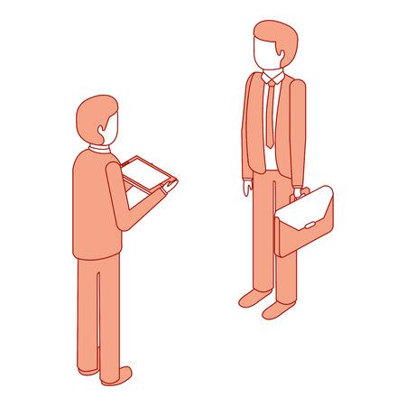 zakenlieden permanent met werkmap en tablet isometrische vector illustratie roze ontwerp