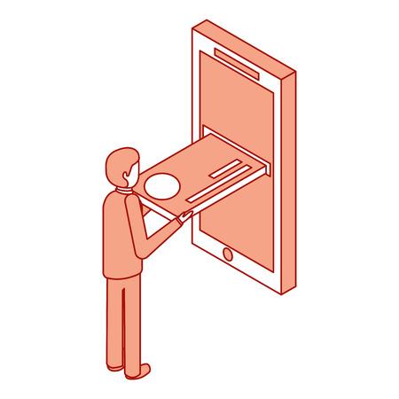 モバイルアイソメベクトルイラストピンクデザインにクレジットカードを挿入するビジネスマン  イラスト・ベクター素材