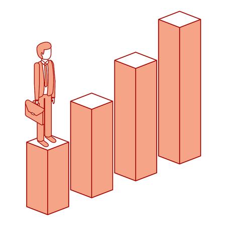 グラフダウン文字アイソメトリックベクトルイラストピンクのデザインに立つブリーフケースを持つイライラしたビジネスマン  イラスト・ベクター素材