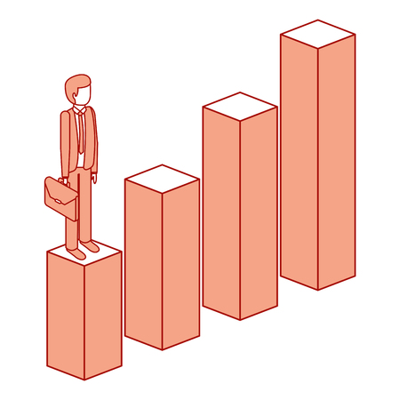 frustrated businessman with briefcase standing on a graph down character isometric vector illustration pink design