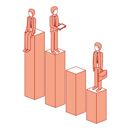 different businessman standing on bar charts their financial status vector illustration pink design Illustration