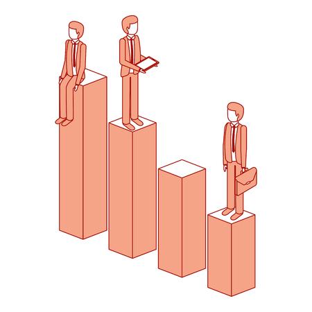 verschillende zakenman die zich op bar charts hun financiële status vector illustratie roze ontwerp