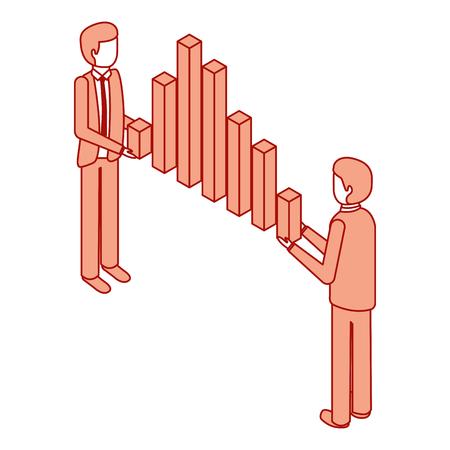 businessmen holding graph bars financial business isometric vector illustration pink design Illustration
