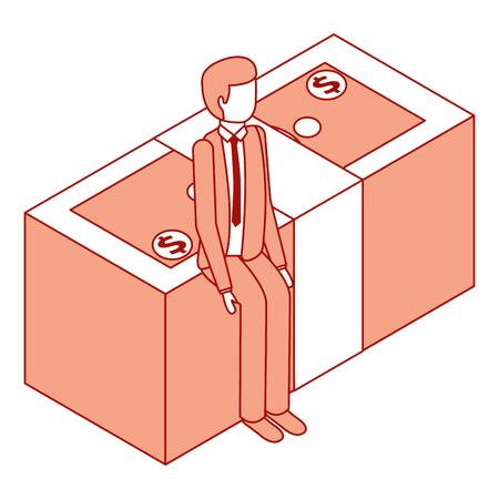 zakenman zitten stak bankbiljet geld isometrische vector illustratie roze ontwerp Stock Illustratie
