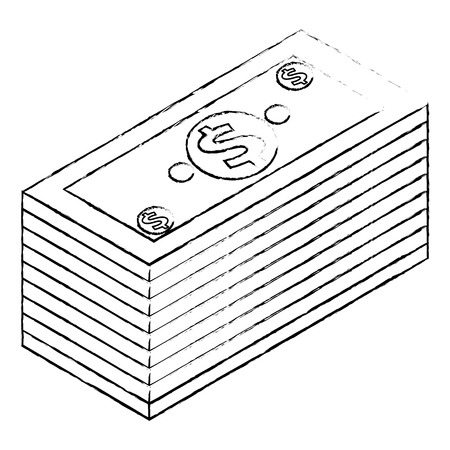 Staked money isometric banknote dollar finance vector illustration sketck Illustration