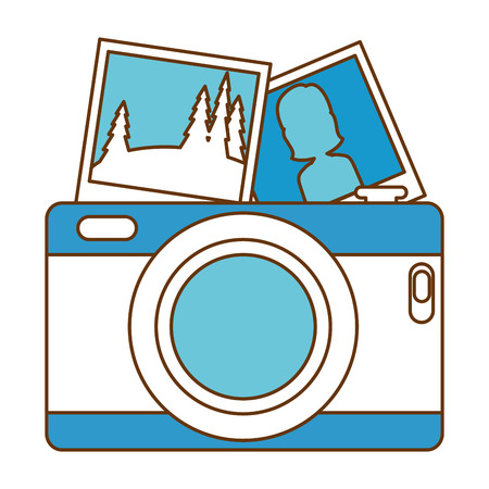 Camera photographic with pictures vector illustration design