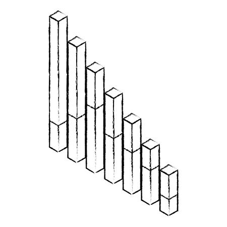 A bars statistics isometric financial graph vector illustration sketck