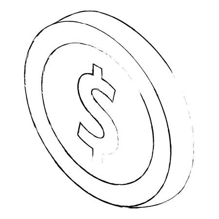 coin money icon symbol in flat isometric 3d vector illustration sketck Ilustração