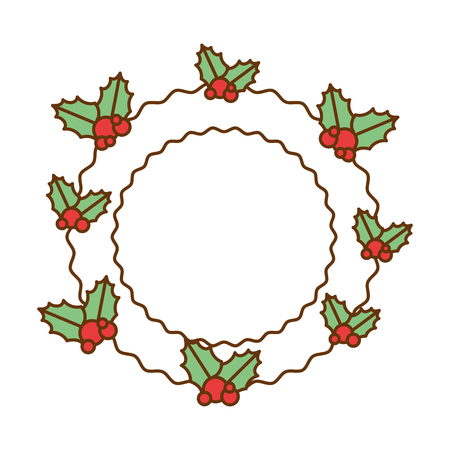 christmas leafs decorative frame vector illustration design