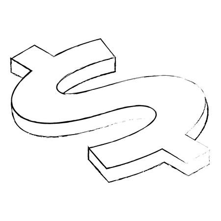 dollar symbol isometric money currency vector illustration sketck