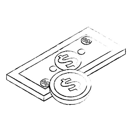 money banknote coin currency dollar isometric vector illustration sketck