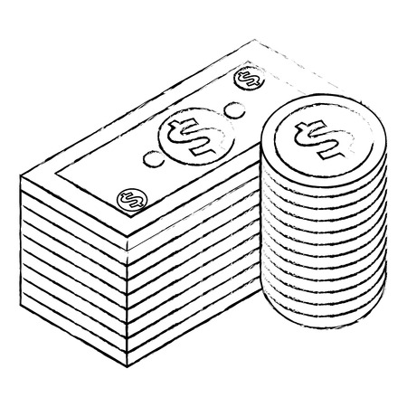 staked banknote and coins currency bank isometric vector illustration sketck