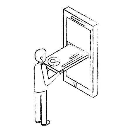 businessman inserting credit card on mobile isometric vector illustration sketck
