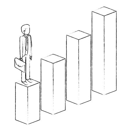 아래로 그래프에 서류 가방 순위와 좌절 된 사업가 문자 아이소 메트릭 벡터 그림 sketck