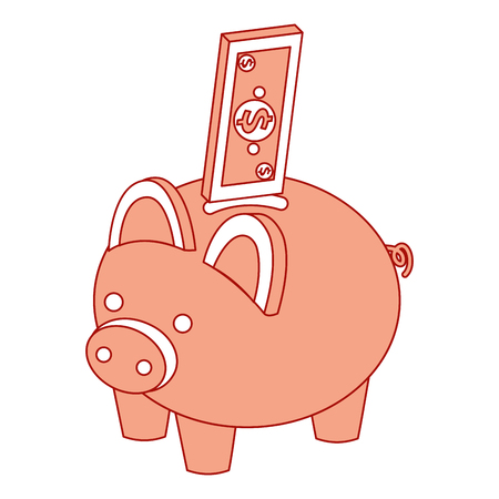 bank piggy with banknote money cash isometric vector illustration pink design