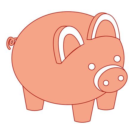 돼지 저금통 보안 돈을 아이소 메트릭 벡터 일러스트 핑크 디자인을 저장