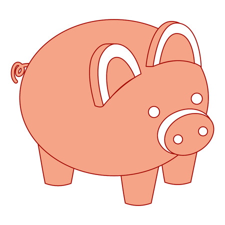 piggy bank security saving money isometric vector illustration pink design