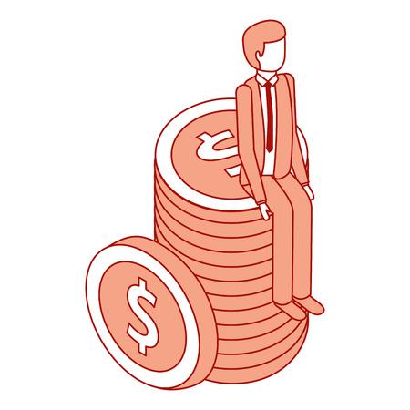 businessman sitting pile coins money isometric vector illustration pink design Çizim