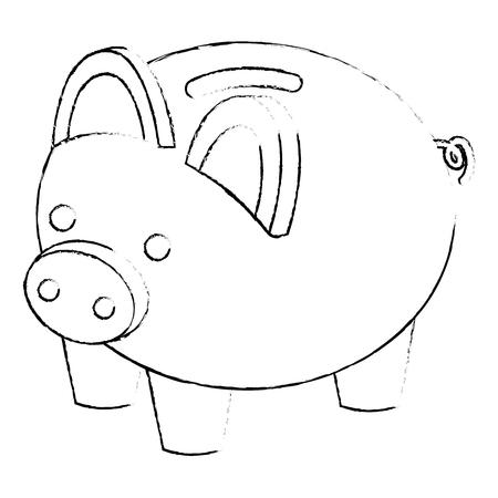 piggy bank security saving money isometric vector illustration sketck Reklamní fotografie - 91416557