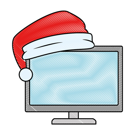 monitor computer with christmas hat vector illustration design