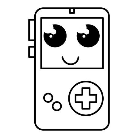 Juego Portatil Video Dispositivo Kawaii Personaje Vector Ilustracion