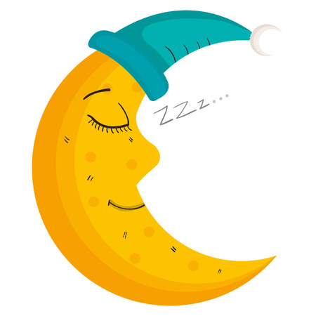 moon night with sleeping hat character vector illustration design