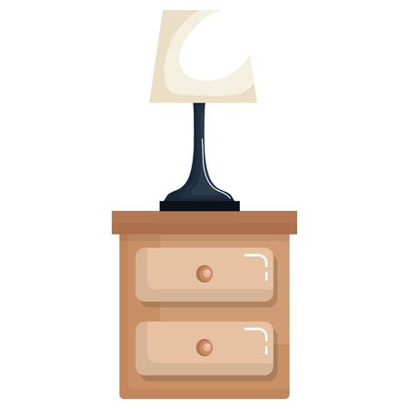 slaapkamerlamp in het lade geïsoleerde ontwerp van de pictogram vectorillustratie
