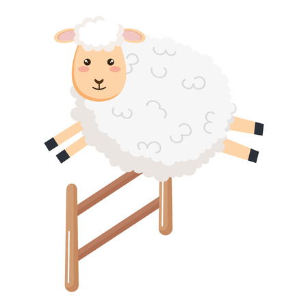 Sheep jumping fence character icon  illustration.