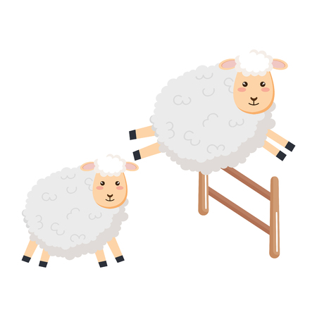 Sheep jumping fence character icon illustration design. Vectores
