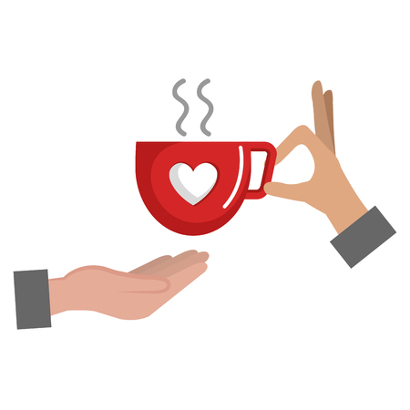 hand with coffee cup with heart vector illustration design Illustration