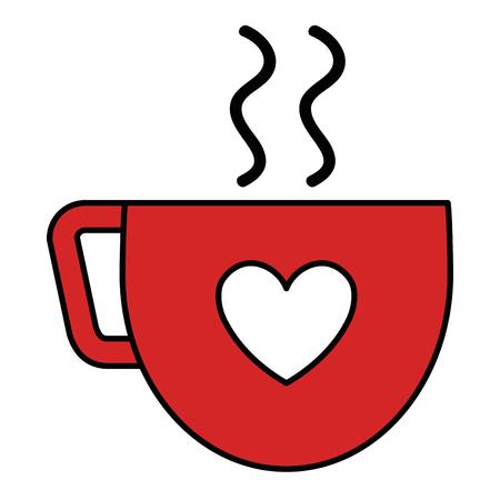 ハートベクトルイラストデザインのコーヒーカップ