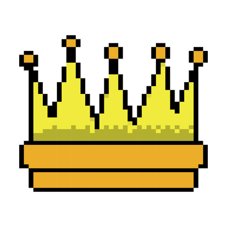 Symbol of king crown video game element graphic vector illustration pixelated image