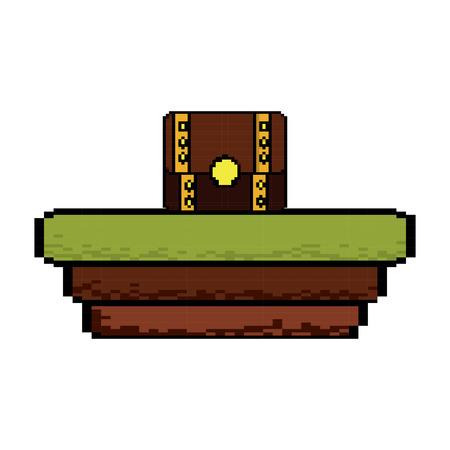 Video game treasure chest scene vector illustration pixelated image Illustration