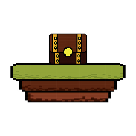 Video game treasure chest scene vector illustration pixelated image Çizim