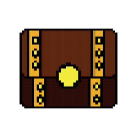 Video game treasure chest fortune vector illustration pixelated image