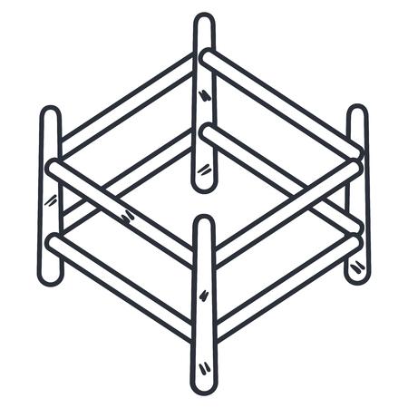 木製柵分離アイコン ベクトル イラスト デザイン
