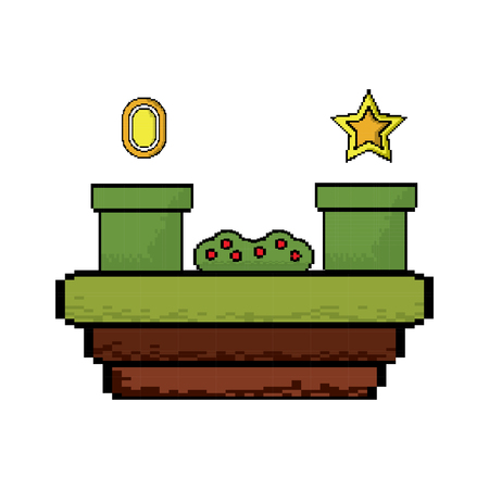 Video game scene with coin star tube bush vector illustration