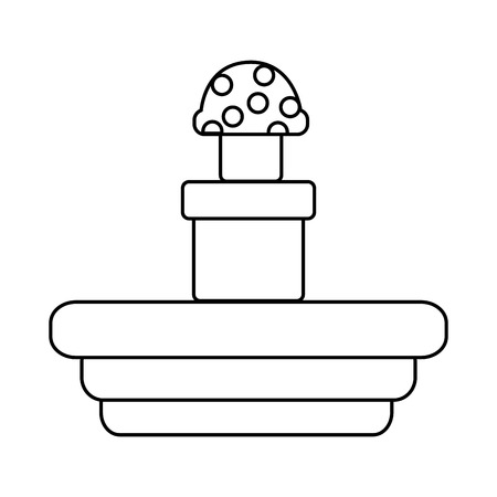 video game terrain mushroom platform vector illustration outline image Ilustrace