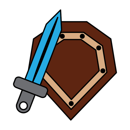 video game shield and sword items vector illustration