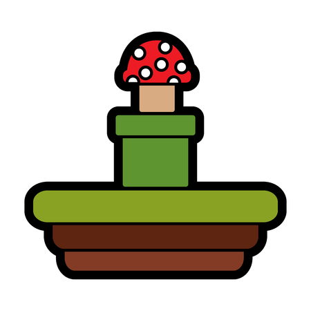 Video game terrain mushroom platform illustration. 向量圖像