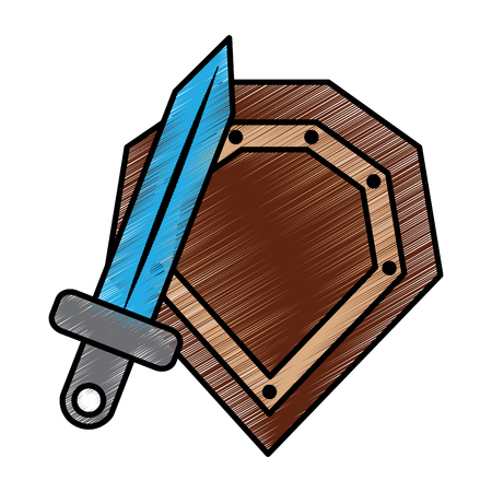 video game shield and sword items vector illustration drawing Ilustração