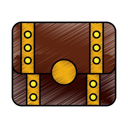 Video game treasure chest scene vector illustration drawing Illustration