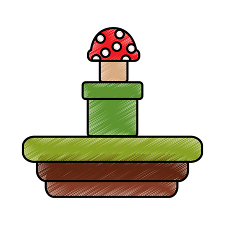 Video game terrain mushroom platform vector illustration drawing 向量圖像