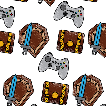 video game treasure chest shield sword control elements seamless pattern vector illustration