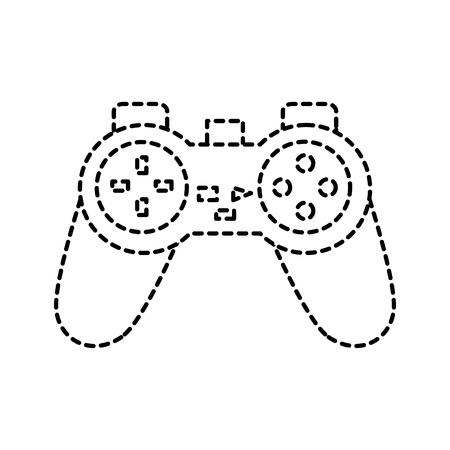 Video game console joystick control buttons in broken lines vector illustration