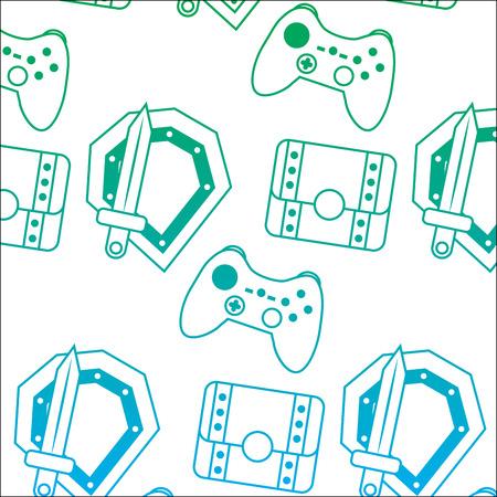 비디오 게임 및 보물 상자 요소 원활한 패턴 그림.