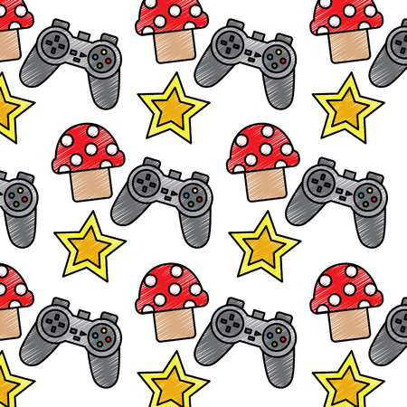 Video game controller with star and mushroom elements seamless pattern  illustration