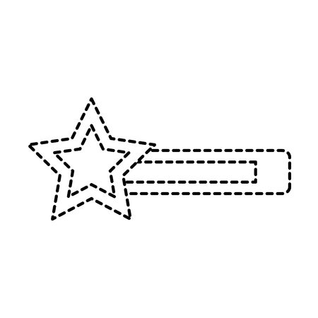 Video game bar progress with star in dashed line illustration Çizim