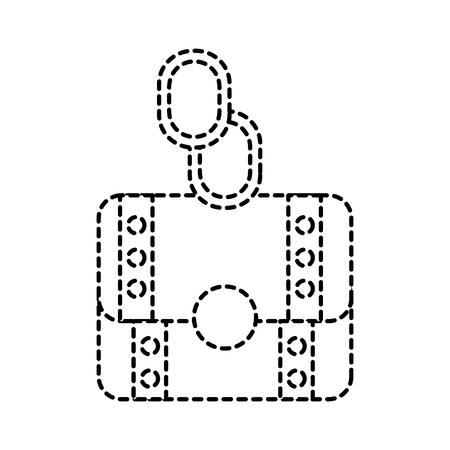 Baú de video game na ilustração de linha tracejada Foto de archivo - 91422098